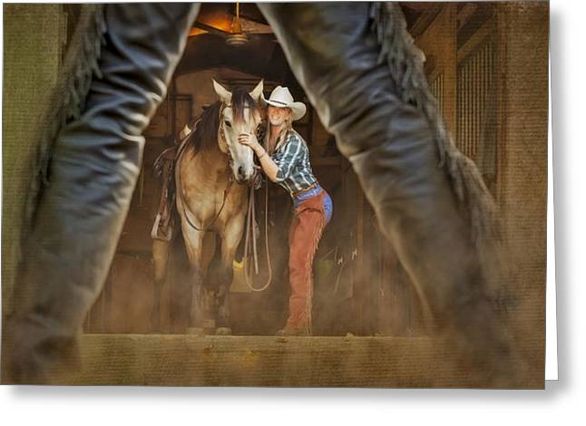 Buckskin Horse Greeting Cards - Cowgirl and Cowboy Greeting Card by Susan Candelario