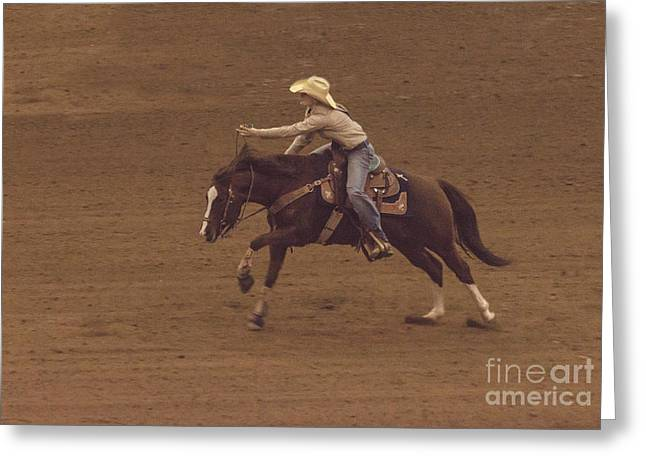 All Around Greeting Cards - Cowgirl Barrel Racing Greeting Card by Janice Rae Pariza