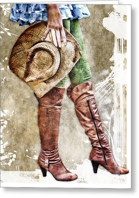 Boots Digital Art Greeting Cards - Cowgirl Boots Greeting Card by Anita Hubbard