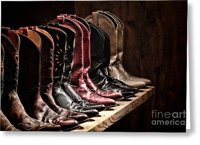 Cowgirl Greeting Cards - Cowgirl Boots Collection Greeting Card by Olivier Le Queinec