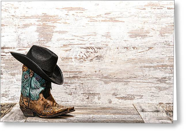 Cowgirl Greeting Cards - Cowgirl Boots Greeting Card by Olivier Le Queinec