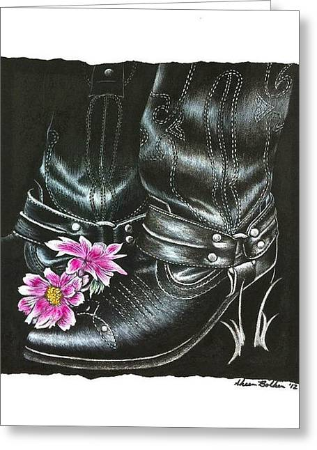 Western Themed Greeting Cards - Cowgirl Boots Greeting Card by Sheena Pape