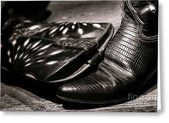 Boot Greeting Cards - Cowgirl Gator Boots Greeting Card by Olivier Le Queinec