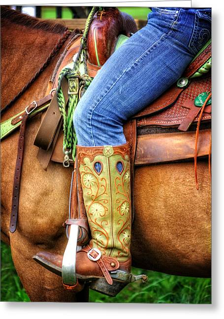 Leather Belt Greeting Cards - Cowgirl Greeting Card by Greg Mimbs