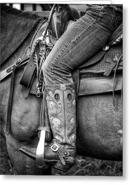 Leather Belt Greeting Cards - Cowgirl in Black and White Greeting Card by Greg Mimbs