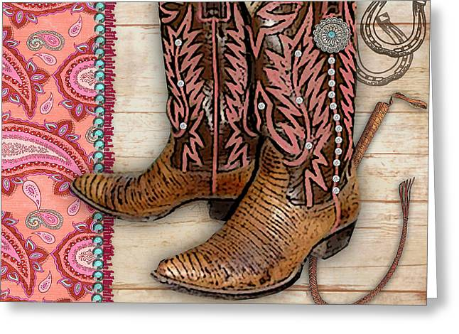 Original Cowgirl Greeting Cards - Cowgirl-JP2533 Greeting Card by Jean Plout