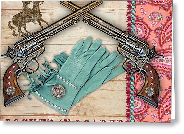 Original Cowgirl Greeting Cards - Cowgirl-JP2535 Greeting Card by Jean Plout