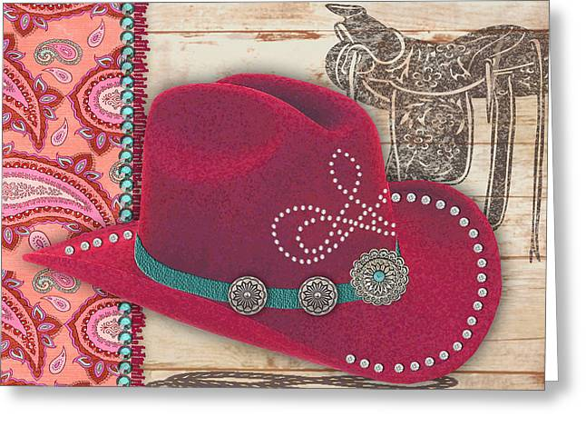 Original Cowgirl Greeting Cards - Cowgirl-JP2536 Greeting Card by Jean Plout
