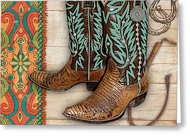 Original Cowgirl Greeting Cards - Cowgirl-JP2537 Greeting Card by Jean Plout