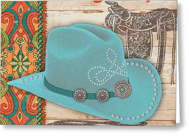 Original Cowgirl Greeting Cards - Cowgirl-JP2540 Greeting Card by Jean Plout