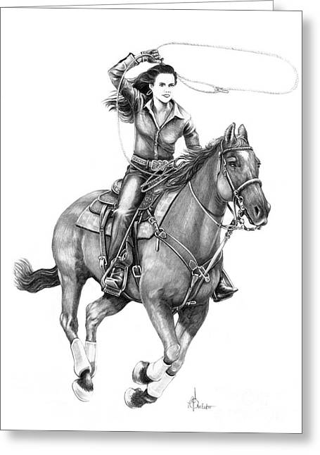 Pencil Drawing Greeting Cards - Cowgirl  Greeting Card by Murphy Elliott