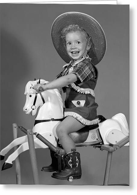 Cowgirl On Rocking Horse, C.1950s Greeting Card by B. Taylor/ClassicStock