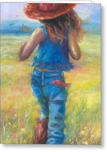 Vickie Wade Paintings Greeting Cards - Cowgirl on the Run Greeting Card by Vickie Wade
