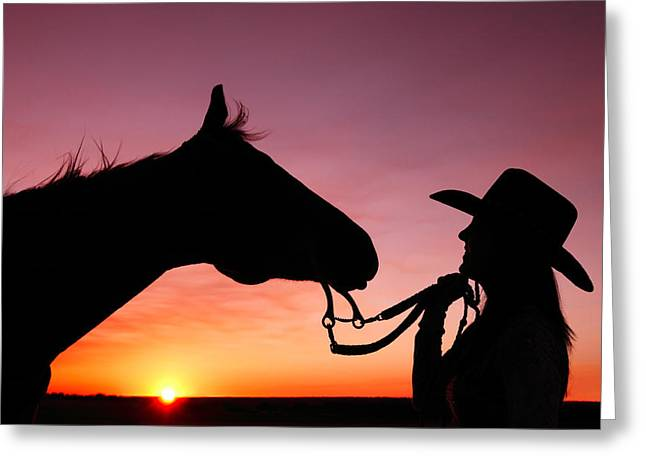 Quarter Horse Greeting Cards - Cowgirl Sunset Greeting Card by Todd Klassy