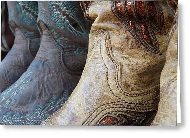 Fancy Boots Greeting Cards - Cowgirl texture Greeting Card by Sarah Egan