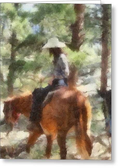 Colorado Cowgirl Greeting Cards - Cowgirl Horseback Riding Greeting Card by Dan Sproul