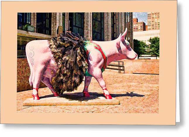 Fund Raiser Greeting Cards - Cow Parade N Y C 2000 - Prima Cowlerina Greeting Card by Allen Beatty