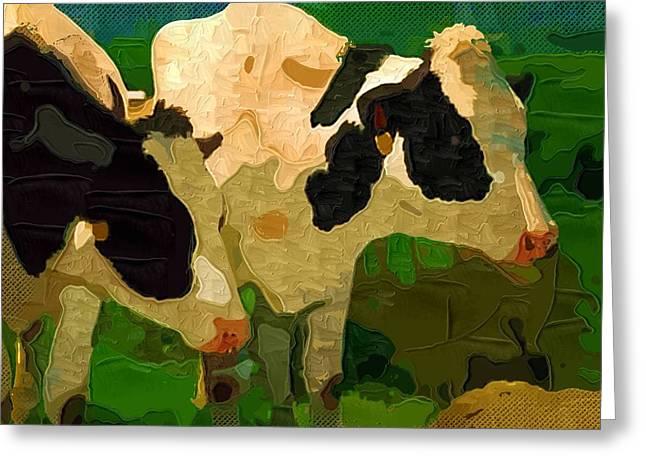 Herbage Greeting Cards - Cows 3 Greeting Card by Victor Gladkiy