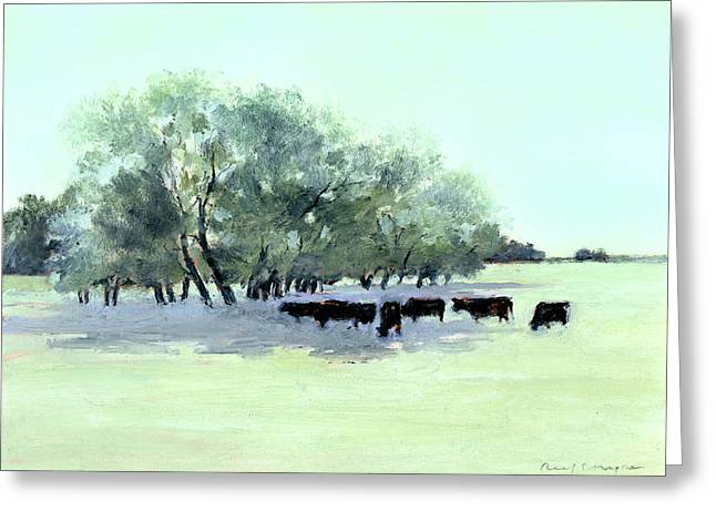 Pastureland Paintings Greeting Cards - Cows 7 Greeting Card by J Reifsnyder