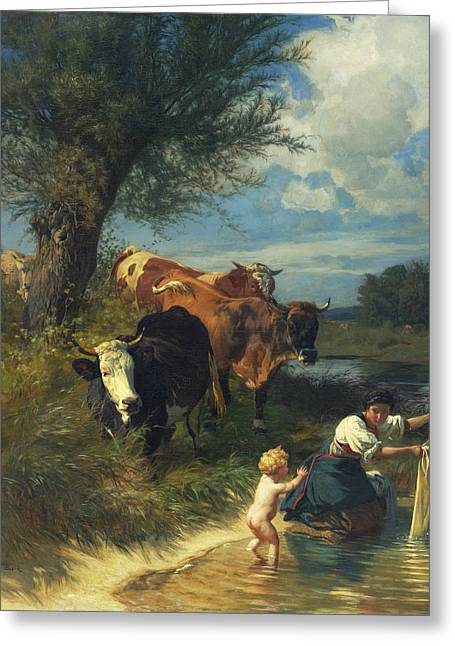 Rudolf Greeting Cards - Cows and washerwomen near a brook Greeting Card by Rudolf Koller