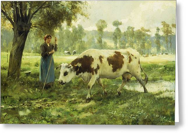 Pasture Scenes Paintings Greeting Cards - Cows at Pasture  Greeting Card by Julien Dupre