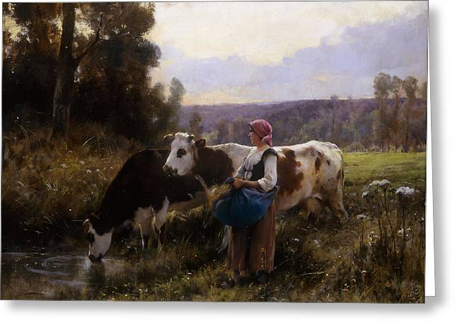 Cows At The Watering Hole Greeting Card by Julien Dupre