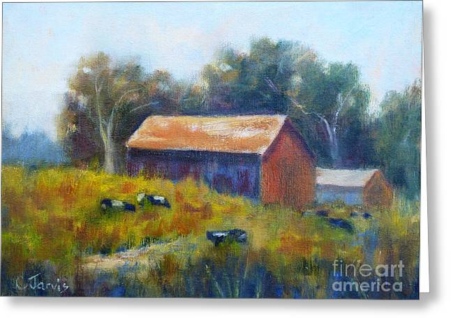 Sonoma County Paintings Greeting Cards - Cows by the Barn Greeting Card by Carolyn Jarvis