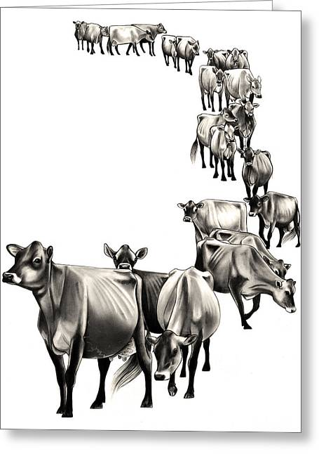 Cows Come Home Greeting Card by Emma Caldwell