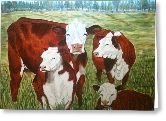 Cows Four Greeting Card by Lee Halbrook