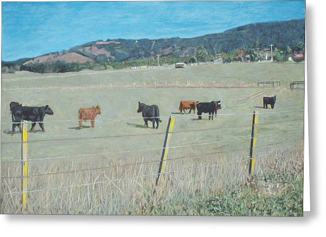Photorealist Greeting Cards - Cows in a paddock at Yarra Glen Greeting Card by Bert Ernie