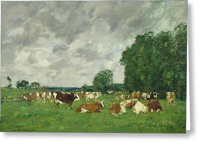 Pasture Greeting Cards - Cows in a Pasture Greeting Card by Eugene Louis Boudin
