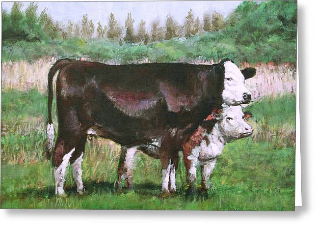 Cows In Field Demo Small Painting Greeting Card by Martin Davey
