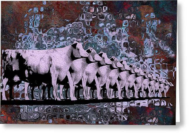 Alteration Greeting Cards - Cows In Order 2 Greeting Card by Jack Zulli