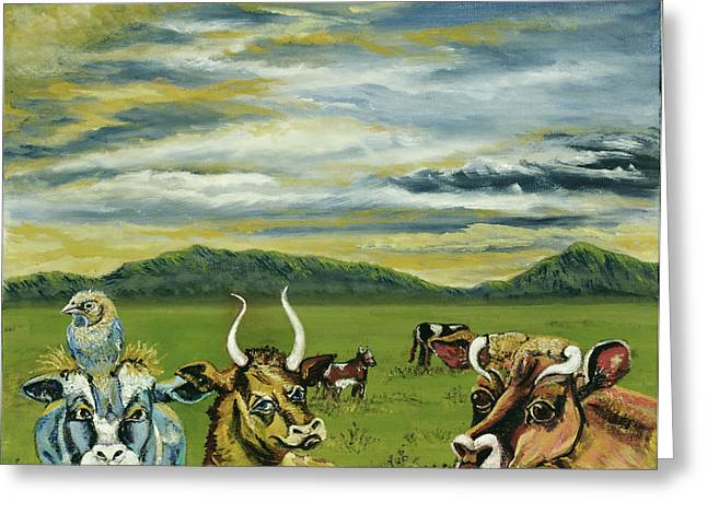 Print On Canvas Greeting Cards - Cows of a Different Color Greeting Card by Susan Culver