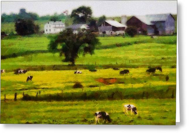 Berlin Mixed Media Greeting Cards - Cows On The Farm Greeting Card by Dan Sproul