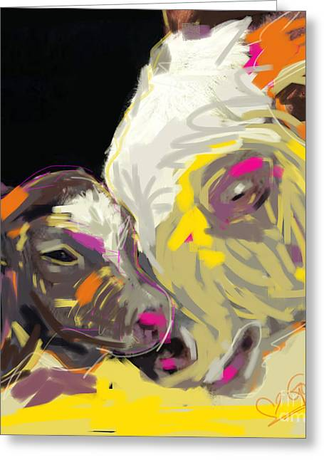 Cow Greeting Cards - Cows Together 14 Greeting Card by Go Van Kampen