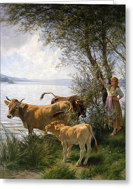 Rudolf Greeting Cards - Cows with shepherdess at the lake Greeting Card by Rudolf Koller