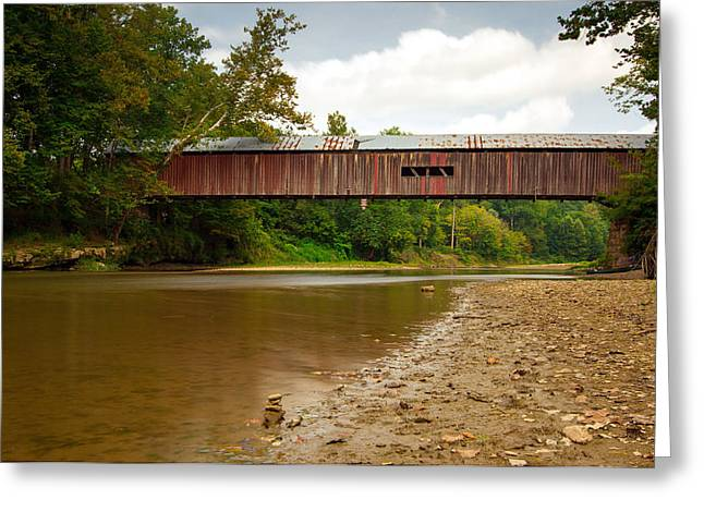Cox Covered Bridge Greeting Card by Jackie Novak