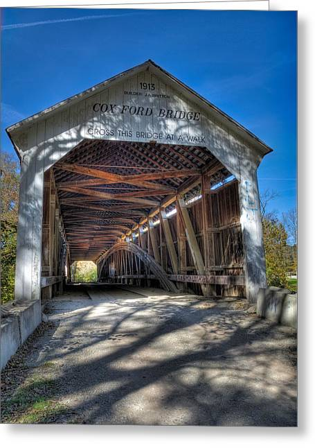 Turkey Run State Park Greeting Cards - Cox Ford Covered Bridge Greeting Card by Alan Toepfer