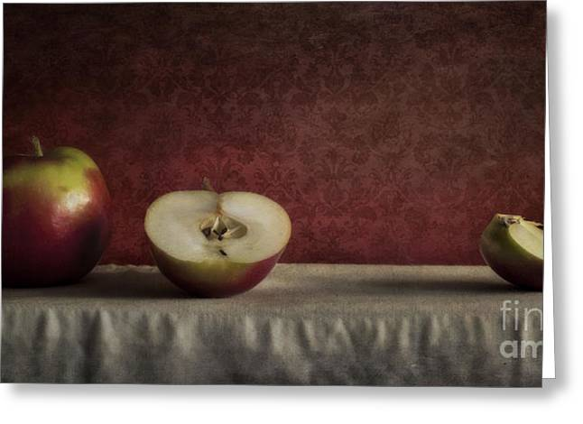 Halved Greeting Cards - Cox Orange Apples Greeting Card by Priska Wettstein