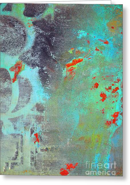 Abstracto Greeting Cards - Coy Abstractions in Orange and Turquoise Greeting Card by ArtyZen Home - Fine Art