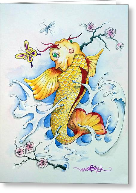 Coy Fish Mixed Media Greeting Cards - Koi Greeting Card by Brian Blackman