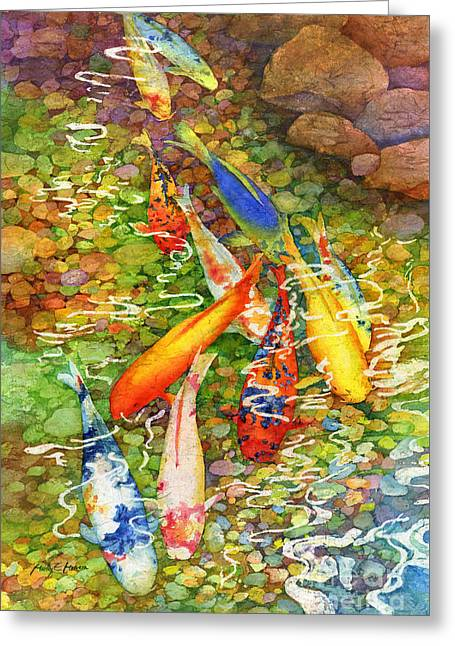Koi Pond Greeting Cards - Coy Koi Greeting Card by Hailey E Herrera