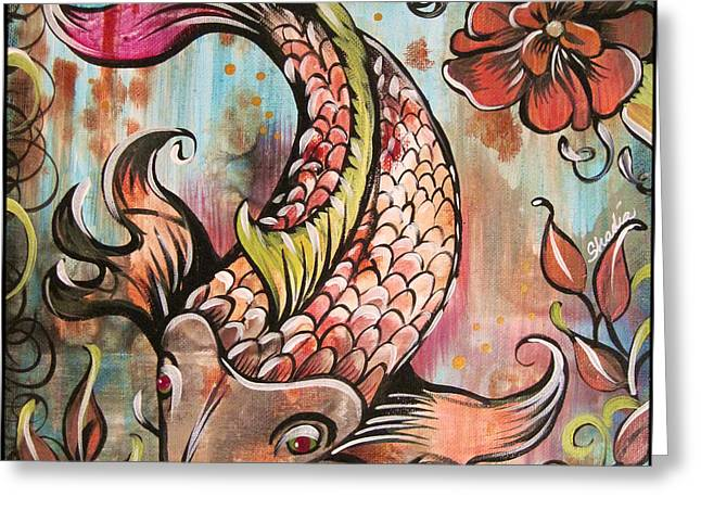 Coy Koi Greeting Card by Shadia Derbyshire