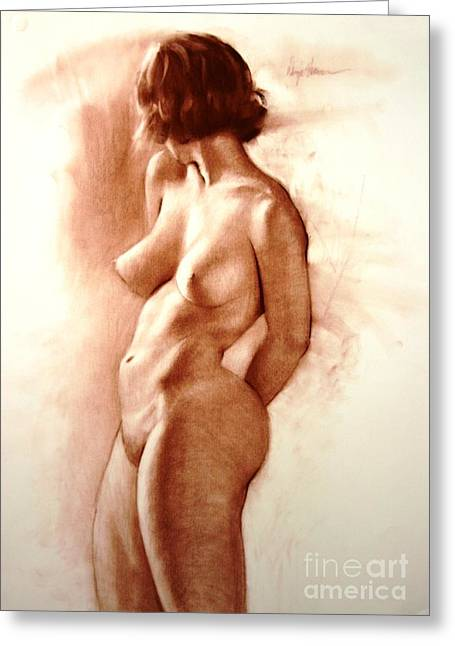 Pinup Pastels Greeting Cards - Coy Nude Greeting Card by Doyle Shaw