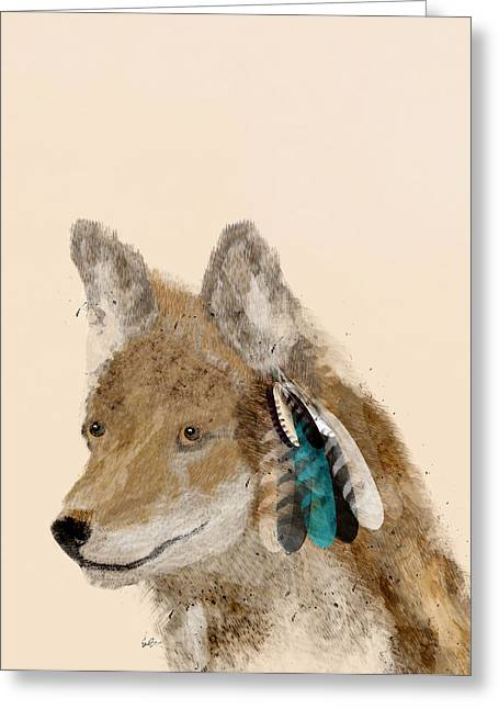 Coyote Art Greeting Cards - Coyote Greeting Card by Bri Buckley