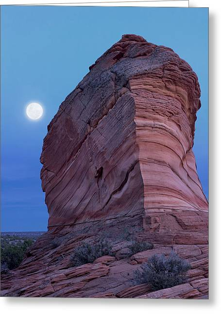 Coyote Buttes Moonrise Greeting Card by Leland D Howard