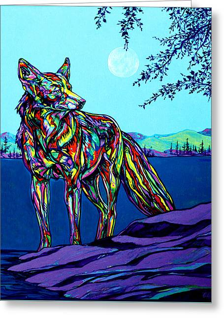 Brush Wolf Greeting Cards - Coyote Greeting Card by Derrick Higgins