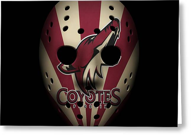 Goalie Greeting Cards - Coyotes Goalie Mask Greeting Card by Joe Hamilton
