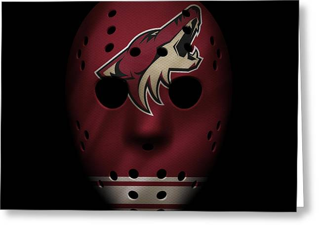 Rink Greeting Cards - Coyotes Jersey Mask Greeting Card by Joe Hamilton
